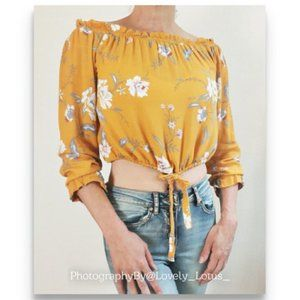 Kendall and Kylie Mustard Yellow Floral Crop Top S